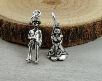 925 Sterling Silver Skeleton Bride and Groom Charm, Skeleton Bride Charm, Skeleton Groom Charm, Halloween Wedding, Halloween Jewelry