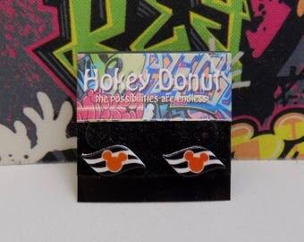 Disney Cruise Line Orange Mickey Flag Stud Earrings
