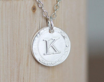 Circle Initial Necklace, Custom Initial Necklace, One Letter Necklace, Sterling Silver Disc Vintage Inspired