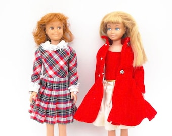 1964 - 1965 Skipper Red Velvet Dress Coat #1906, Silk N Fancy Dress #1902, 1966 Rainy Day Checkers #1928 Skooter Barbie Fashion Doll Clothes