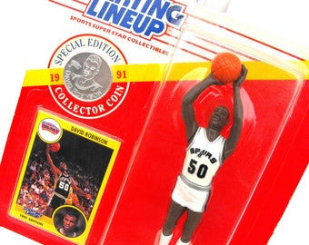 1991 NBA David Robinson San Antonio Spurs Starting Lineup Kenner Sports Figurine with Special Edition Collector Coin Vintage Basketball Card