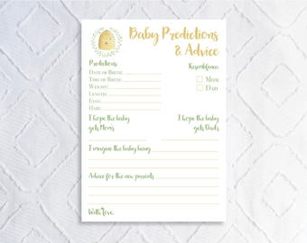 Printable Bee Baby Shower Activity- Baby Predictions and Advice