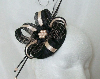 Black & Pale Blush Peach Pheasant Curl Feather Sinamay and Pearl Isabel Wedding Fascinator Mini Hat Ascot Derby - Made to Order