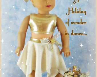 "Ivory and Gold Dance costume fits 18"" doll such as the American favorite"