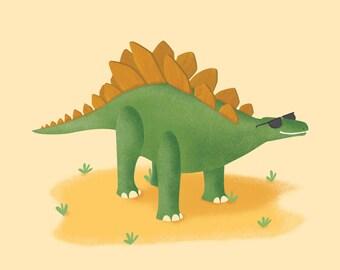 "Cool Stegosaurus in Sunglasses, Nursery Wall Art Decor, Dinosaur Print, Wall Art, Kids Room Poster, Kids Gift, Baby Gift, Artwork, 11""x14"""