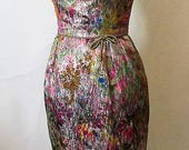 Shimmering 1950's Hourglass Cocktail Dress with floral brocade& gold lurex Vintage Hourglass party dress Size X small