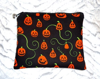 Jack-O-Lantern Pumpkin Makeup Bag - Halloween Zipper Bag