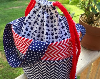 Red, White and Blue Drawstring Tote Bag
