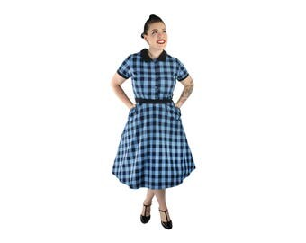 1950s Blue Plaid Picnic Dress XS-3XL