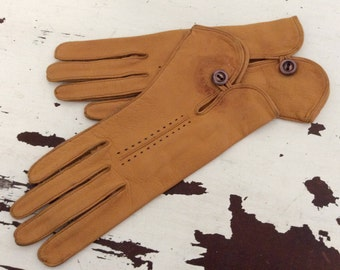 Vintage Deerskin Leather Ladies Gloves Sz 7