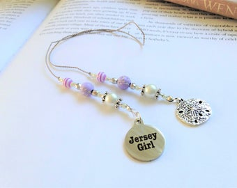 New Jersey Beaded Bookmark Girlfriend Gift-Jersey Girl Charm Silver Purple Sand Dollar Summer Shore Book Thong Reading Love NJ State