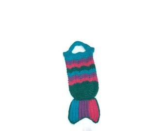 Mermaid Tail Tote  Crochet Tote Bag  Girls Tote Colorful Bag Pink Purple Green Blue