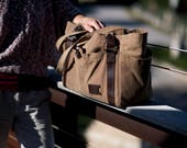 Waxed Canvas Diaper Bag: Large Tote Bag with 6 Pockets, Personalized, Weekender, Travel, Natural - No. 521 (Made in the USA), FREE SHIPPING