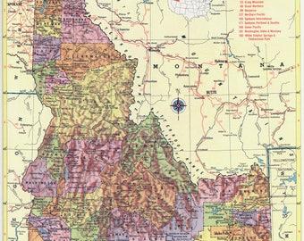 Vintage Idaho Map Etsy - Idahoe map