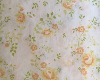 Vtg Twin Flat Bed Sheet - White with Yellow and Orange Roses - JC Penney