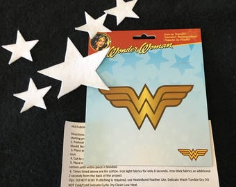 Wonder Woman Iron On Transfer-Felt Iron On Stars-Super Hero Costume Appliques-Fabric Appliques-Halloween Costume Embellishments
