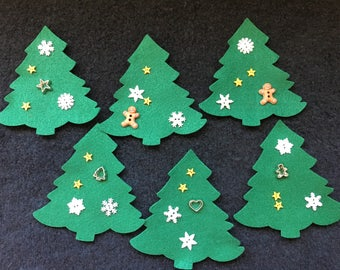 DIY Felt Christmas Trees Ornaments Kits-Evergreen Holiday Trees-Christmas Kits-Felt Appliques-Holiday Garland-Quiet Books-Bible Journaling