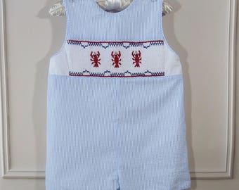 24 mo. Baby Boy Traditional Romper Light Blue Striped Seersucker Smocked Lobsters Ready to Ship