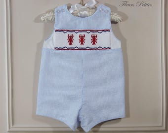 9 mo. Baby Boy Traditional Romper  Light Blue Striped Seersucker with Hand Smocked Lobsters Ready to Ship