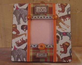 Zoo Animals Decoupaged Picture Frame