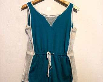 Teal Blue Sporty Mesh Detail Romper with Drawstring Waist large dr71152