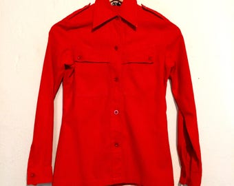 1970s Red Button Down Shirt small wt80087
