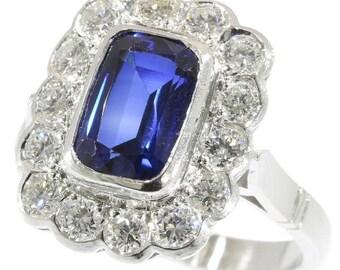 Sapphire Ring, Blue sapphire engagement ring diamond platinum sapphire 2.30ct brilliant cut diamonds 1.12ct vintage ring