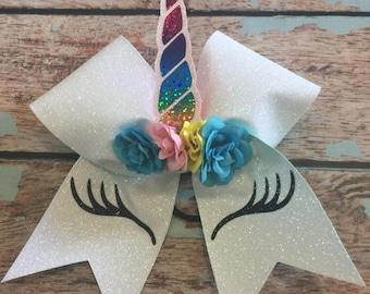 Unicorn Glitter Large Bow Cheer Bow