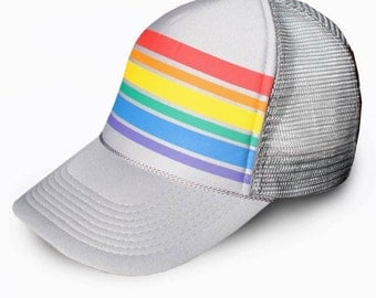 Rainbow striped pride snap back trucker mesh cap hat // ironic hipster grandpa baseball // grey gray silver