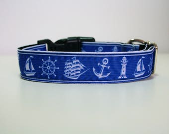"""Boat Anchor Ship Dog Collar or Matching Lead Leash Seat Belt 3/4"""" or 1"""" width"""