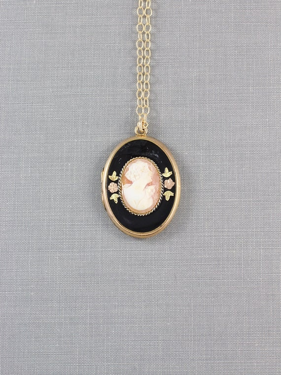 Vintage 10K Gold Filled Cameo Locket Necklace, Rare Photo Pendant with Black Enamel - Cherished Lady
