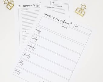 Printable Meal Planner with Shopping List