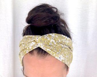 Floral headband - womens headband - green headband - floral head scarf - wide headband - festival headband - cotton headband - lindsaybrook