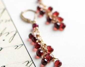Garnet Earrings, Red Earrings, January Birthstone, Birthstone Earrings, Dangle Earrings