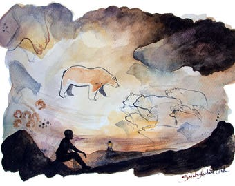 Cave Bears - Art Print - Watercolor Illustration, Ancient Cave Painting, Fine Art Print