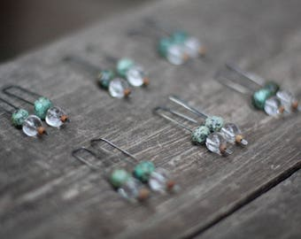 Turquoise, mountain crystal, sandal wood dangle earrings - oxidized sterling silver