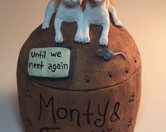 Custom Cat Urn For Two Cats-  Any Breed for Two Cats- Or Dogs, Rabbits, Ferrets Any Small Animal- Pet Urn for Two Pets