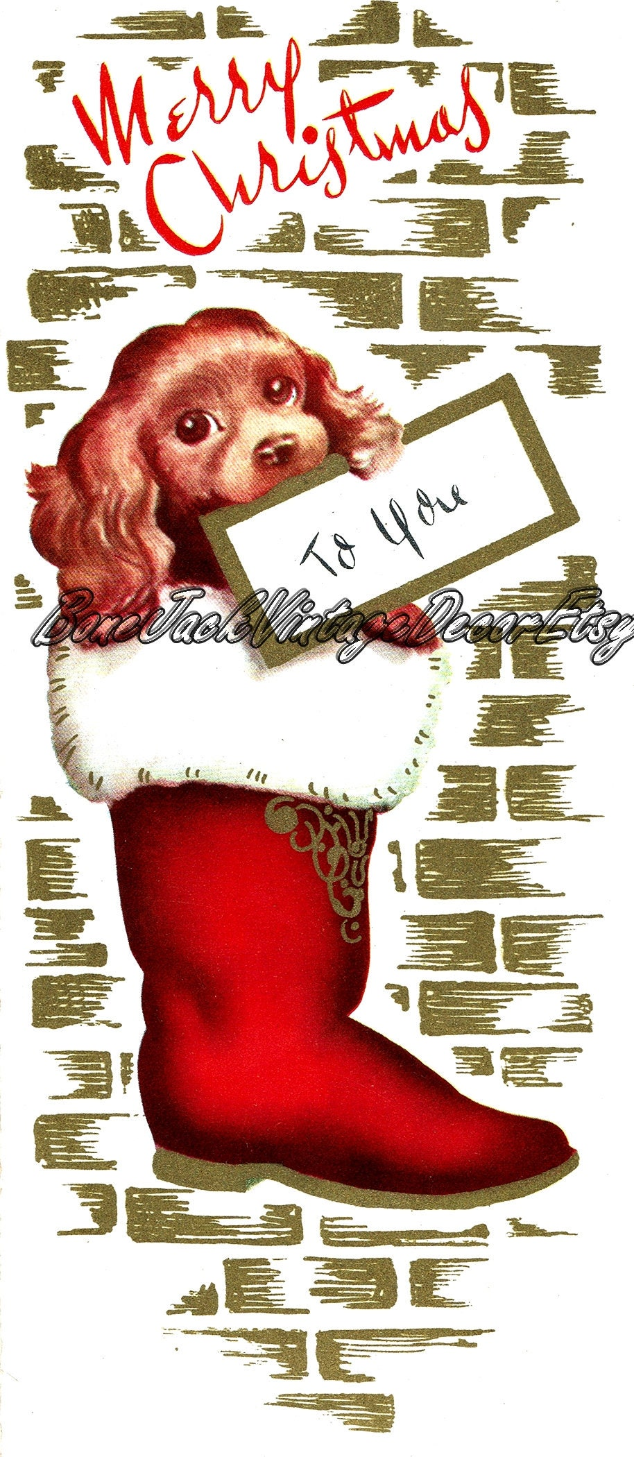Merry Christmas Christmas Card Vintage Dog Christmas Stocking