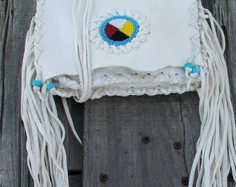 ON SALE White buckskin leather clutch , four direction bead work , fringed white clutch , Native ceremonial leather bag