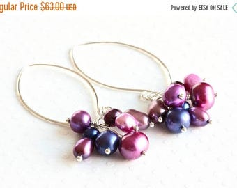 Purple Earrings, Pink Pearl Earrings, Pearl Cluster Earrings, Freshwater Pearl Earrings, Long Dangle Earrings, Sterling Silver Jewelry