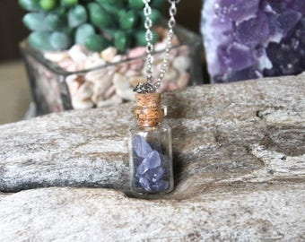 PETITE Tanzanite Necklace - Gemstone Vial Jewelry - Rough Tanzanite Necklace - Raw Tanzanite Jewelry - Raw Stone Vial Necklace Boho Jewelry