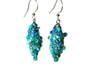 Aqua Blue Dangle Earrings, Repurposed Recycled Upcycled, Fiber Art Jewelry, Artsy Earrings, Gift For Her