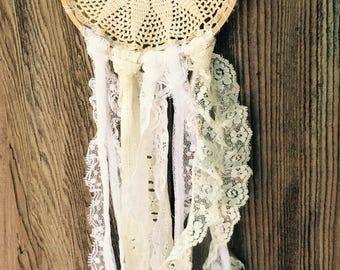 Doily Dreamcatcher Crochet Vintage Lace Cream White Small