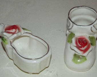 Ceramic Baby Bootie Shoe And violin with Roses MADE IN JAPAN