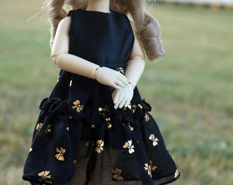 Black Dress with Gold Bow Print for YoSD sized BJDs