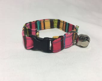 Breakaway Adjustable Cat Collar with Bell - Pink Yellow Blue  Green Brown Stripes