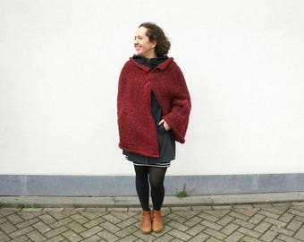 Hand Knitted Cape, Dark Red Wrap Burgundy Shawl, Chunky Knit Wrap Shawl with Pin, Oxblood Outerwear, Warm Winter Womens Fashion Gift for Mom