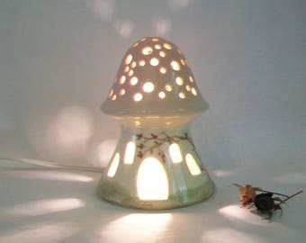 Night Light/ Fairy House -Pink Roof, Mushroom with Starry Sky - No Chimney - Hand Painted - Ready to Ship - Childrens Lamp / Nursery Light