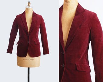 Vintage 70s Burgundy Red Velvet Blazer Jacket / 1970s Velvet Jacket Tailored Collared Indie Hipster Professor Retro Medium