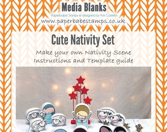 Cute Nativity Fibreboard Substrates and Stamp Set Kit - Paperbabe Stamps - Coordinating MDF Shapes for mixed media and craft.